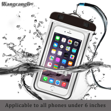 wangcangli Universal swim waterproof phone pouch cover fluorescent for iPhone for xiaomi Mobile waterproof case cases Bag(China)