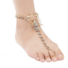 1 Pc Pinksee Western Fashion Metal Scorpion Chains Anklet Bling Shoe Charms Trendy Women Barefoot Jewelry Accessory(China)