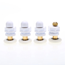 4pcs Shower Door Rollers White Bath Runners Wheels Pulleys For Door Accessories