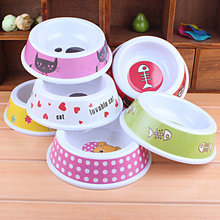 Colorful Plastic Dog Feeding Bowl Portable Cat Puppy Food Dish Pet Drink Water Bowl Non-Slip Small Pet Dog Supplies
