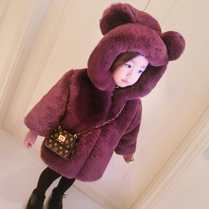 Baby Girls Winter Fur Coat Warm Fashion Hoodie Outwear Kids Princess Students Zipper Jackets Fille Soft Comfortable Snow Coat<br>
