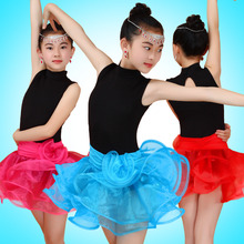 Simplicity Sleeveless Elegent Organza Tutu Ballroom Dress Child Latin Dance Costumes Kids 2016 Summer/Autumn Practice Clothes