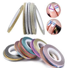 14 Rolls Glitter Scrub Nail Art Striping Tape Line Sticker Tips DIY Mixed Colors Self-Adhesive Decal Tools Manicure 1MM 2MM 3MM