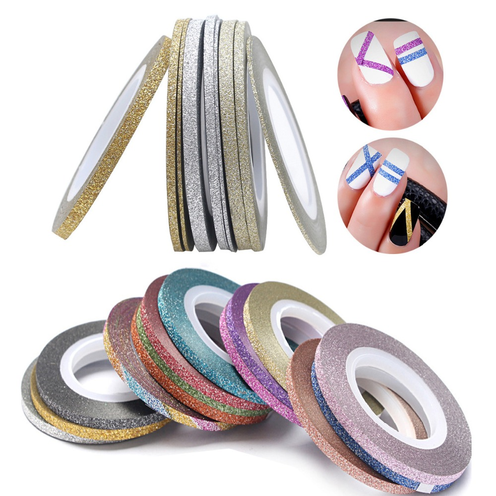 14 Rolls Glitter Scrub Nail Art Striping Tape Line Sticker Tips DIY Mixed Colors Self-Adhesive Decal Tools Manicure 1MM 2MM 3MM<br><br>Aliexpress