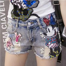 4XL 2017 European Grand Prix Korean cartoon embriodery was thin burr hole jeans Mickey sequins high waist denim shorts w1067(China)