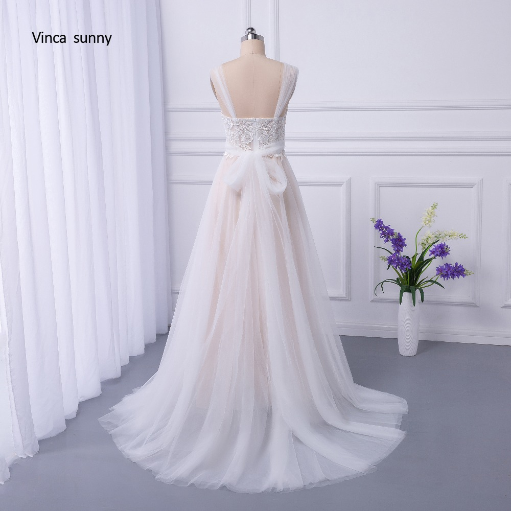 vinca sunny Bohemian Wedding Dresses French Lace sleeveless Boho Beach Wedding Dress zippe Back Bridal Gowns vestido de noiva 9