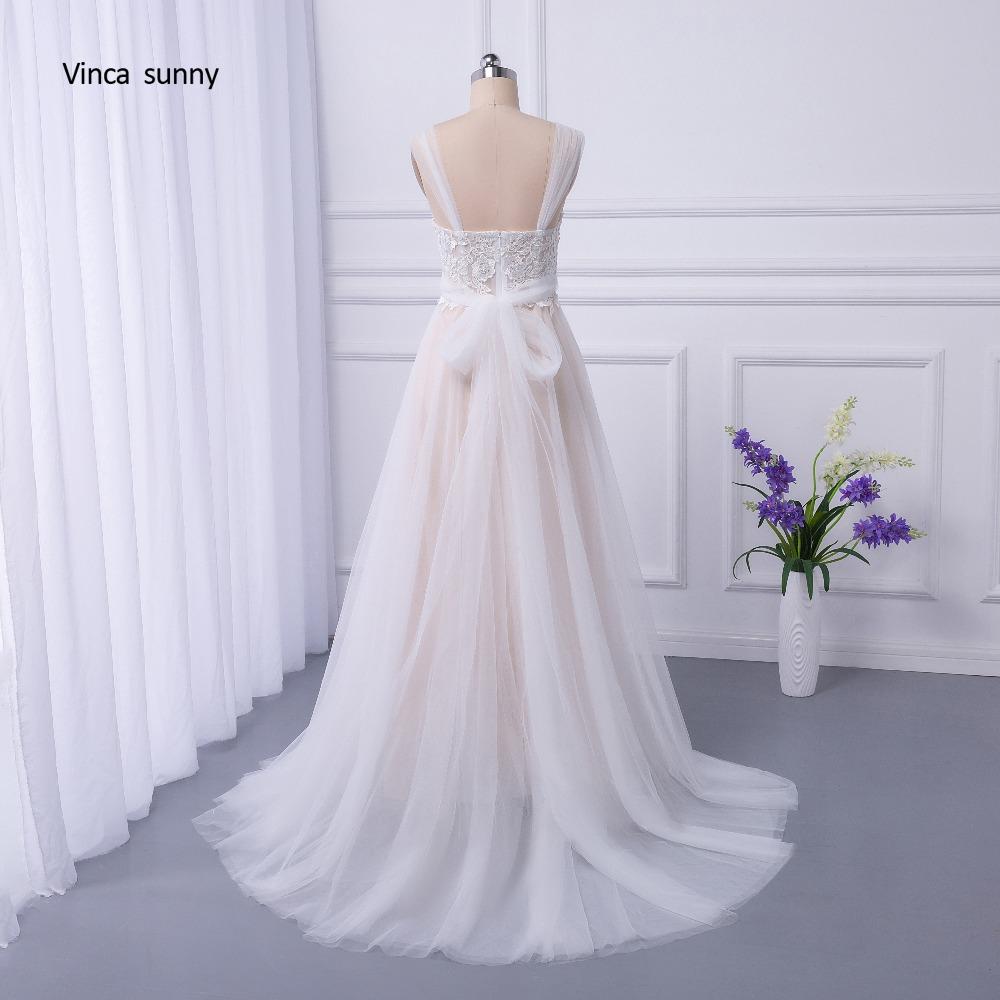 vinca sunny Bohemian Wedding Dresses French Lace sleeveless Boho Beach Wedding Dress zippe Back Bridal Gowns vestido de noiva 9