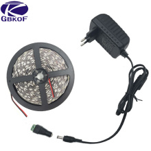 5050 led strip White Warm White RGB 5m fita de led tape diode feed tiras ribbon 12V led light with DC12V power adapter Free Ship(China)