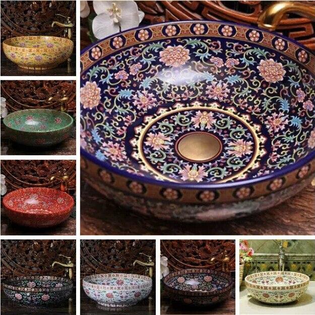 Europe Vintage Style Handmade Art Porcelain Deep Blue Countertop Basin Sink  Handmade Ceramic Bathroom Vessel Sinks Vanities In Bathroom Sinks From Home  ...