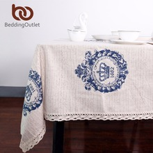 BeddingOutlet Crown Tablecloth Dinner Table Cloth Cotton Linen Rectangular Lacy Table Cover Macrame Home Decor  Europe Style