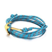 Meaeguet Navy Jewelry Multilayer Braided Anchor Bracelet Blue Nylon Ropes Nautical Men Women Bangles Pulsera Ancla