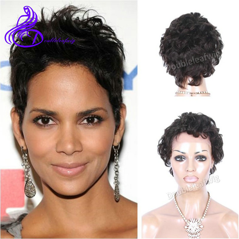 Halle Berry Short Natural Hair Lace Front Human Hair Wigs Black Woman Celebrity Brazilian Short Black Hairstyles Lace Front Wigs<br><br>Aliexpress