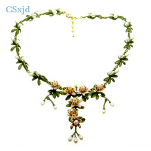 CSxjd 1pcs Latest design Natural Pearl Orange flower Retro necklace sweater chain Elegant Women 's necklace Jewelry(China)