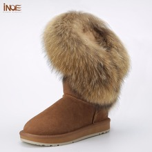INOE new fashion style big natural fox fur tassels womans winter snow boots for women cow suede leather winter shoes black brown(China)