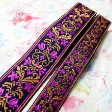 5cm 2' 3.3cm 1-3/8' hot pink golden filigree beautiful classic flower ribbon DIY costume laciness national jacquard webbing lace