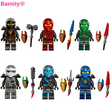 [Bainily]6pcs/set Ninja Kai Cole Jay Zane Lloyd Nya With Weapons DIY Figures Compatible LegoINGly Ninjagoe Building Blocks Toys