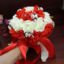 Free Shipping Korean Style Wedding Artificial Rose Flowers Handmade Gorgeous Crystal Ribbon Decorative Bridal Wedding Bouquets(China)