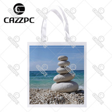 The sea and white stone beach top quality Print Custom individual lightweight polyester fabric Reusable Bag gift bag ""