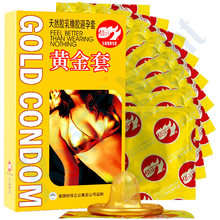 Buy 10 Pcs/Pack Pleasure Golden Condoms Safer Contraception Nautural Ultra Thin Large Oil Latex Rubber Penis Condoms Men