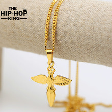 Buy New Gold Color Hip Hop Punk Rock Micro Angel Pendant Necklace Long Chain Necklace Men Women Fashion Jewelry for $11.82 in AliExpress store