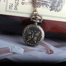 Beautiful Bronze Antique Butterfly Quartz Small Cute Pocket Watch Necklace Pendant Women Lady Girl Analog Dial Best Gift P119-1
