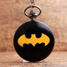 New Batman Necklace Flip Pocket Watch For Men Women Fashion Black Smooth Tungsten Steel Fob Quartz Clock With Chain Pendant Gift(China)