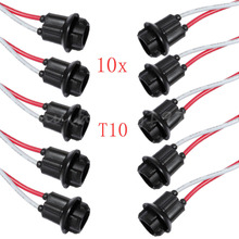 10pcs T10 W5W 168 194 2825 Car Auto Truck Light Instrument LED SMD Bulb Extension Connector Socket Free Shipping