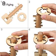 Wooden Unlock Puzzle Key Classical Funny Wood Kong Ming Lock Education Toys Game
