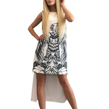 Angel Wings Summer Women Dresses Casual Street Wear Letters Printed Dress Sleeveless Short Front Back Long O-Neck Dress