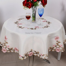 Elegant Polyester Satin Embroidery Pink Daisy Tablecloth Embroidered Floral Table Cloth Cover Overlays Home Decor Textile
