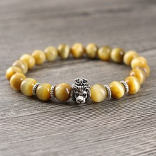 Men's High Grade Lion Beaded Golden Tiger eye Natural Stone Jewelry Gift Women Energy Wrist Bracelets