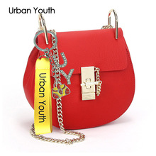 Urban Youth Fashion Small Lady Bag Genuine Leather Chili Pig Shoulder Bag Vrouwen Messenger Bags Women Chain Tassel Bag Ladies
