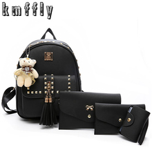 KMFFLY Brand 3 set Rivet tassel black backpack school bags for teenage girls sac a dos femme mochilas mujer pu leather backpack(China)