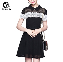 OUYALIN S-5XL Audrey Hepburn Style Black White Lace Dress Summer Hollow Fit And Flare Short Sundress 2017 Fashion Boutique 5136