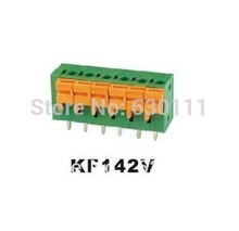 Terminal blocks: Spring type PCB KF142V 2P binding post wire connecting terminals spacing/pitch 5.08MM 250V/10A, Quality assured(China)