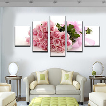 5 board picture pink rose modern home decoration painting on the canvas print news photo wall art can be framework(China)