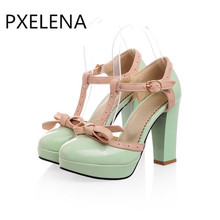 PXELENA 2017 Star Style Patent Leather Womens Wedding Shoes High Heels Bowtie Lolita T-Strap Court Pump Round Toe Party Pumps