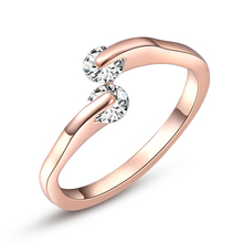 Exquisite Rose Gold Color Austrian Crystal Female Jewelry Open Design AAA+ Cubic Zirconia Wedding Ring for Women Wholesale