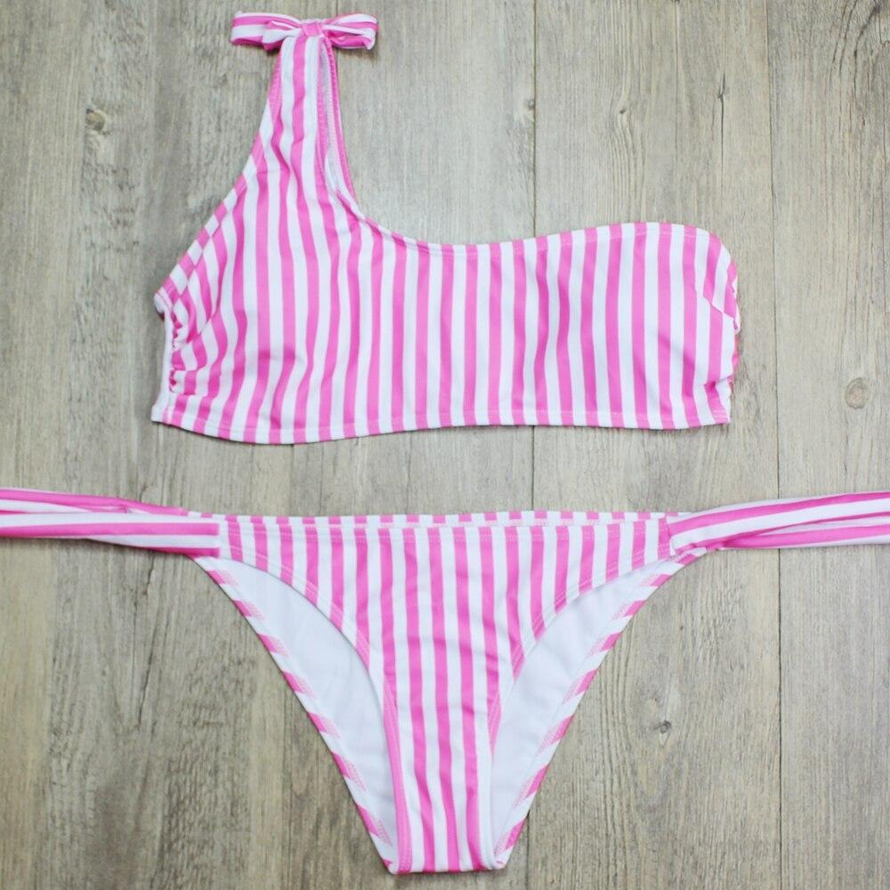 P&j 18 Sexy One Shoulder Bikini two pieces swimsuit female Swimwear Women Bikini Set Bathing Suit swim biquini 13