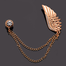 SHUANGR Fashion Wings Shape Chain Brooch Pin For Women Men Gold Color Rhinestone Clothes Jewelry Accessories Christmas Gift