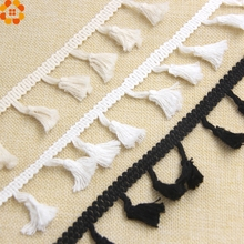 5Yard White/Black/Beige DIY Cotton Tassel Fringe Ribbon Lace Trim Ribbons Sewing Cloth Crafts Accessories&Home Party Decoration