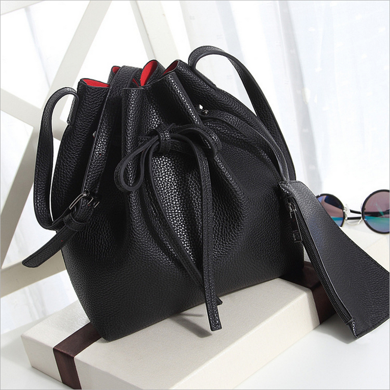Newest Bucket Bag Women Fashion Handbag Leather Shoulder Bag All-Match Satchel Tote Purse Lady Crossbody Bags And Extra Wallet<br><br>Aliexpress