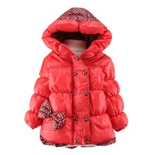 Winter Baby Girl Warm Down Coat  Hooded Jacket  Bowknot Long Sleeve Jackets Kids Polka Dot Outwear