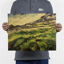 47x36cm Posters And Prints Mortal Kombat Poster Van Gogh - Green Wheat Field Nostalgic Retro Painting Kraft Paper Poster