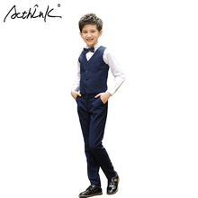 ActhInK 3Pcs Boys Vest Suit with Bowtie Brand New 2017 Teenage Boys Formal Tuxedos Suit Wedding Costume School Boys Uniform,C259(China)