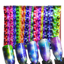 16pcs Gradient Starry Nail Transfer Foils DIY Glitter Galaxy Holographic Foils Nail Art Sticker DIY Wraps Nail Decor Tools CH448(China)