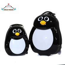 "13""16"" penguin  Cute Travel Trolley Case kids bags Suitcase with Wheels for Children kids Luggage"