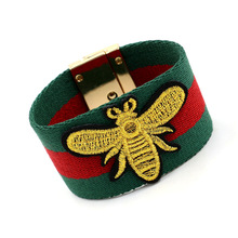 2018 New Women Cotton Cloth Fashion Embroidery Golden Bee Bracelet For Women Green Red Stripe Cloth Ribbon Bracelet JB0469(China)