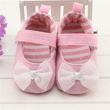 Pink Baby Girl Princess Shoes First Walkers Cute Bowknot Soft Sole Infant Girl Shoes Footwear Chaussures Fille 0-18M Discount(China)
