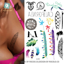 LC-870/2016 Latest 21x15cmTattoo on Breast Leg Body Temporary Art Tattoo Stickers Unique Colorful Letter Feather Tatoo